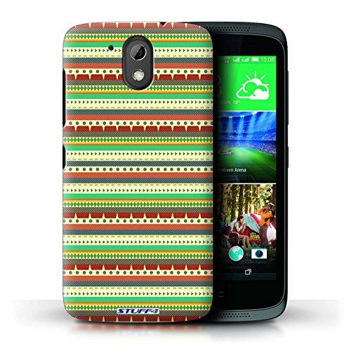 Custodia/Cover Rigide/Prottetiva STUFF4 stampata con il disegno Azteco Tribal Modello per HTC Desire 526G+ - Verde/Rosso - Tribal Pouch