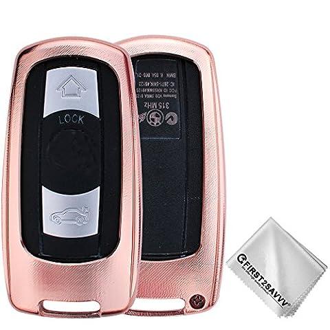 First2savvv Housse Protection Télécommande Clé Cover Pour BMW 3 Series (2005-2012), BMW 5 Series (2006-2010), BMW 6 Series (2006-2007), BMW M3 (2009-2013), BMW M5 (2005),BMW X5 (2008-2013), BMW X6 (2008-2013)(s'il vous plaît vérifier la compatibilité de la photo du produit) CAR-BMW-XX-C02