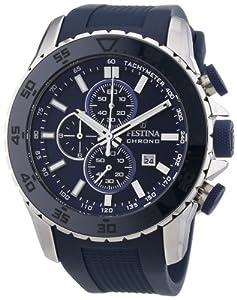 Festina Sport Chrono F16642/2 - Reloj cronógrafo de cuarzo para hombre, correa de goma color azul (cronómetro, agujas luminiscentes, cifras luminiscentes) de Festina