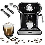 Espressomaschine mit Siebträger-System / Abschaltautomatik und Betriebsindikationsleuchte