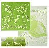 Lashuma Set di 4 strofinacci da cucina frutti a scelta rosa, arancione, blu, verde, pacco da 2 asciugamani in spugna e set di strofinacci naturale