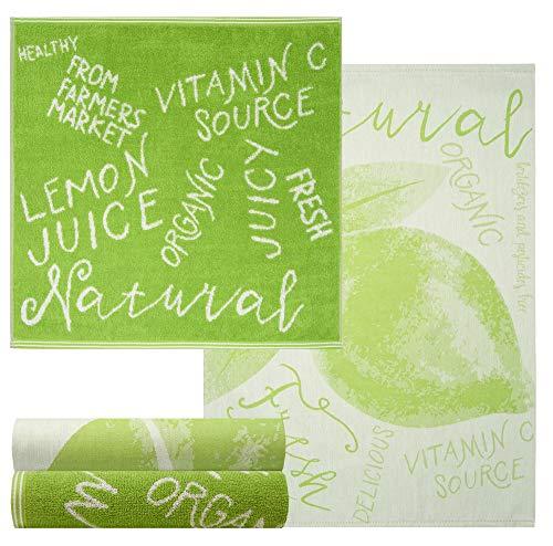 Lashuma 4 Spültücher Grün aus 100% Baumwolle, Motiv: Natur, 2x Geschirrtücher 70 x 50 cm - 2x Frottiertücher 50 x 50 cm