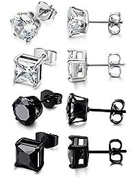 Sailimue 4pairs stainless steel men's stud earrings for men and women, stud earrings, piercing, ear stud, 3-8 mm