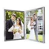 Metall Doppel Bilderrahmen 13x18 cm HUIXIANG Double Portraitrahmen Thin Edge Doppelrahmen Fotorahmen Glänzend Doppelt Versilbert mit Anlaufschutz 13 x 18, Silber
