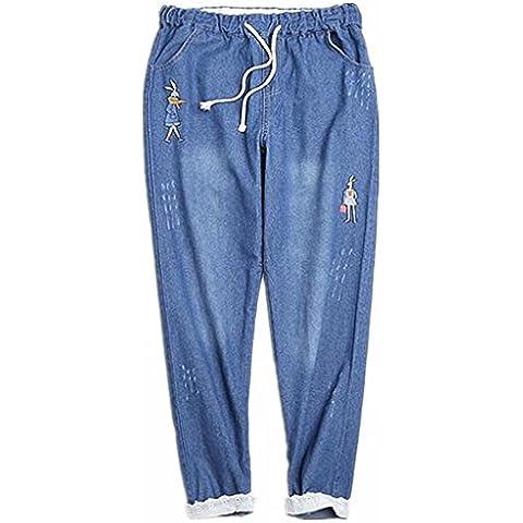 ZYQYJGF Jeans Donna Ricamato Profondo Blu Denim