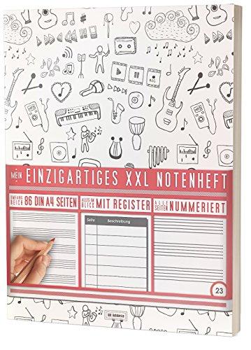 """Mein Notenheft / 86 Seiten, 44 Blätter, 12 Systeme / Mit Register und Seitenzahlen / PR301 """"Verspielt"""" / DIN A4 Softcover"""