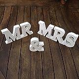 """Allbusky Schild-Geschenk mit der Aufschrift """"Mr & Mrs"""", Holzbuchstaben, für Empfang, Zeremonie, Hochzeit, Dekorationen, Geschenk, weiß, MR & MRS"""