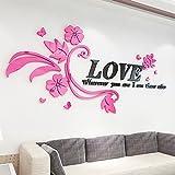 GOUZI Romantische 3d Acryl Schlafsofa, TV Liebe rattan rechts Edition+ schwarz und rosa Blumen Große, herausnehmbare Wand Aufkleber für Schlafzimmer Wohnzimmer Hintergrund Wand Bad Studie Friseur