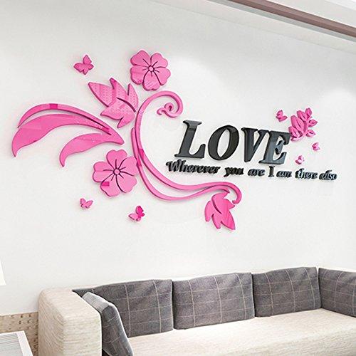 GOUZI Romantische 3d Acryl Schlafsofa, TV Liebe rattan richtige Edition + schwarze und rote Blumen übergroße Abnehmbare Wall Sticker für Schlafzimmer Wohnzimmer Hintergrund Wand Bad Studie Friseur
