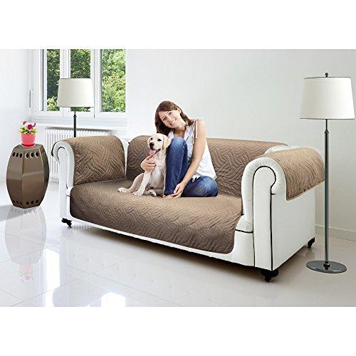 Starlyf® sofa cover, divano o poltrona schoner, divano, rivestimento–original in pubblicità tv, poliestere, marrone scuro / beige, 3-sitzer: 190 x 290 cm