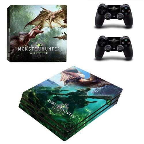 CIVIQ Monster Hunter World PS4 Pro Skin Sticker Vinyl für Sony Playstation 4 Konsole und 2 Controller PS4 Pro Skin (Monster Truck Ps4)