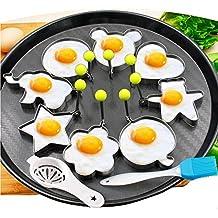 8pcs huevos fritos moldes anillos huevo diferentes formas de acero inoxidable con pincel de silicona 1pc