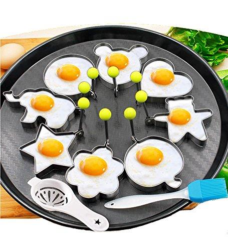 8pcs huevos fritos moldes anillos huevo diferentes formas de acero inoxidable con pincel de silicona 1pc Pastel y yema de oliva Cocina Cocina Blanco Herramientas - Juego de 10