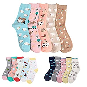 Amphia – 5 Paar – Damensocken – Cartoon/volle Baumwollsocken5 Paar Frauen Mädchen Print Cartoon Schafe Uniform Animal Mid Tube Nette Socken