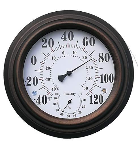 ZUEN Indoor-Outdoor-Thermometer, Eisen-Shell-Thermometer und Hygrometer Outdoor-Home-Celsius-Temperatur-Monitor Große Schrift Glaslinse Hochpräzises Material für die Terrasse Wand oder dekorativ -