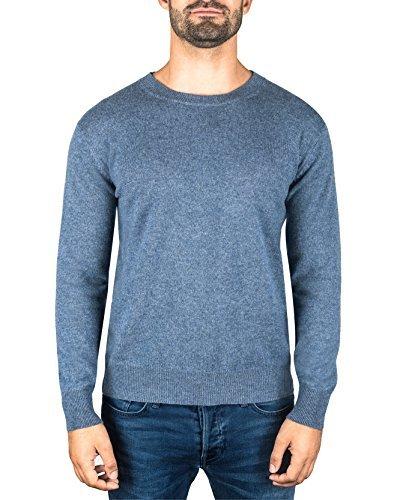 Cashmere Denim Pullover (CASH-MERE.CH 100% Kaschmir Herren Pullover | Sweater Rundhalsausschnitt 2-fädig (Blau/Jeans, XXL))