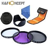 K&F Objektiv Filter Set 49mm UV CPL FLD Filter 49mm Schutzfilter 49mm Polfilter 49mm mit Gegenlichtblende 49mm Objektivdeckel Mikrofasertuch Filtertasche für Canon Nikon DSLR Kamera