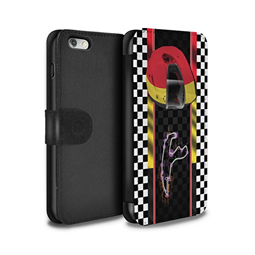 STUFF4 PU-Leder Hülle/Case/Tasche/Cover für Apple iPhone 6 / Italien/Monza Muster / F1 Piste Flagge Kollektion Belgien/Spa