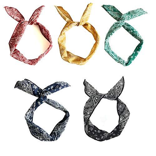 H&Y Stirnband Damen Kopfband Haarband Turban Elastische Weiche Stirnband Blume Muster bedruckt Verdreht Baumwolle für Alltag Yoga Sport Fitness (5 Farben/5 Stück)