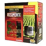 Mate Tee Set Rosamonte Holz - 1kg Tee mit Mate Becher und Trinkhalm