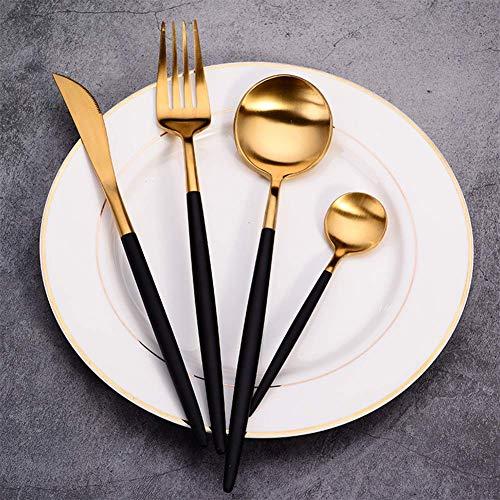 4 pcs/lot en Couverts en Inox acier inoxydable Vaisselle Fourchette Cuillère Ensemble de vaisselle au lave-vaisselle élégant Ensemble de couverts de cuisine pour maison et restaurant,noir/doré