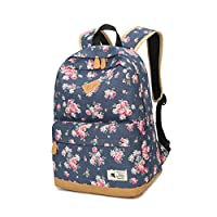Leezeshaw Waterproof Canvas Backpack Rucksack School Bags for Teenager Girls With Floral Pattern