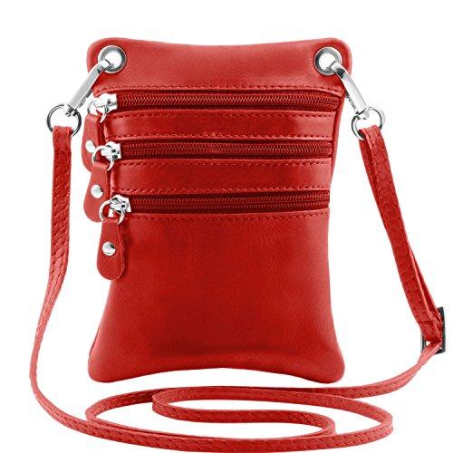 Tuscany Leather TL Bag Mini Schultertasche aus weichem Leder Dunkelbraun Rot