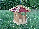 Robustes Vogelhaus aus Holz Vogelhäuschen Futterhaus XL Futterhäuschen deko (Dach rot)