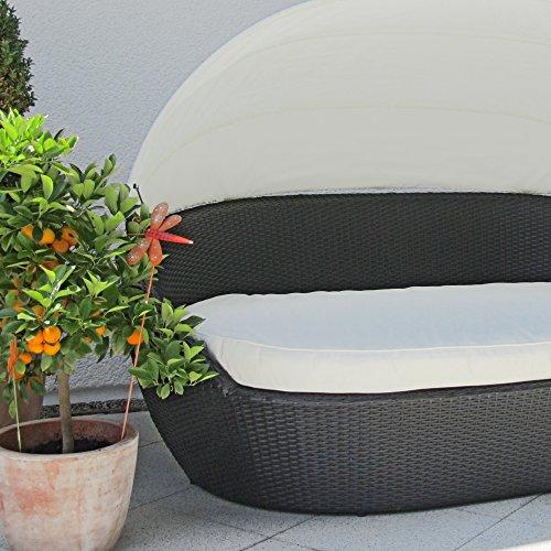 JOM Sonneninsel, Polyrattan Garten Lounge, Chill-Out Sofa mit Baldachin (195x115x140 cm), schwarz, Aluminiumgestänge, mit Sitzpolster und 6 Kissen beige - 3
