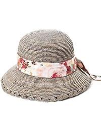 Siggi Femmes Capline Chapeau 100% Raffia Paille Crochet Pliable UPF Plage
