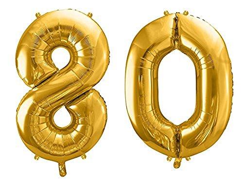 SiDeSo® Folienballon XXL GOLD Heliumgeeignet Party Geburtstag Jahrestag Hochzeitstag Jubiläum Zahlenluftballon Luftballon Zahl (Zahl 80)