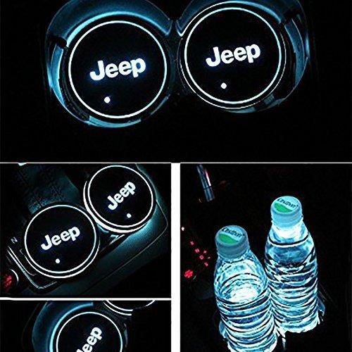 JIanna LED Auto Logo Cup Halter Pad 7 Farben Ändern USB Lade Matte LED Tasse Matte Auto Atmosphäre Lampe Dekoration Lichter (Jeep) (Jeep-auto-matten)