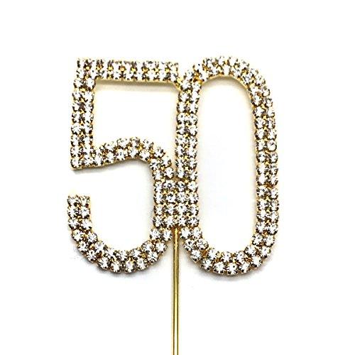 World of Sparkles Kuchen-/Tortendekoration, 6cm, mit silbernen Strasssteinen und goldener Basis, für Jahrestag, Geburtstag, Partys für Kinder und Erwachsene, metall, silber, No 50
