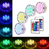 ALFALED 4 PCS Submersible Lights RGB Multicolour Water-resistant IP67 with Remote Control Floral Decoration for Aquarium Pond Vase Base Party Wedding Halloween Christmas Holiday Lighting