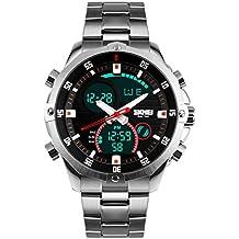 YPS LED hombres de la manera del indicador digital del cuarzo del deporte llenos de acero reloj de pulsera de plata-WTH3463