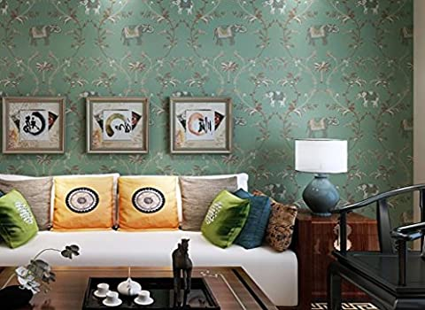 Retro Southeast Asian Wallpaper imitation Stickerei Lucky Elephant Schlafzimmer Wohnzimmer TV Vliestapeten Elefant Abschnitt
