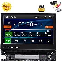 Libre cámara trasera de regalo 8gb mapa Radio estéreo 1DIN 7pulgadas reproductor de DVD del coche GPS Navigation En Dash Autoradio Bluetooth CPU 800MHZ 256M RAM 128MB ROM unidad central panel cara frontal extraíble para el coche