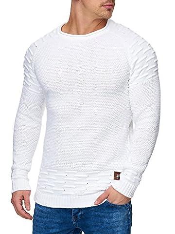 TAZZIO Herren Styler Strick-Pullover 16479 Weiss