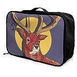 Gepäckträgertaschen,Gepäck Reisetasche,Cartoon Reindeer Antlers Travel Duffel Bag Waterproof...
