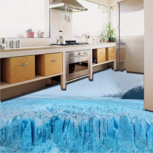 Kuamai Schöner Gletscherschnee-Bodenanstrich Des Im Freien 3D Selbstklebende Kundenspezifische Küchenflur-Tapetenwandgemälde-400X280cm