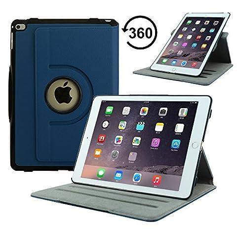 Apple iPad Mini 20,07 cm Neue ACcover Lederhülle mit Retina Display/Ständer für Schlaf- und Wachfunktion mit Magnetverschluss für Apple iPad WiFi 2013 16 GB, 32 GB, 64 GB, 128 GB iPair Air 2-Rotating Case blau