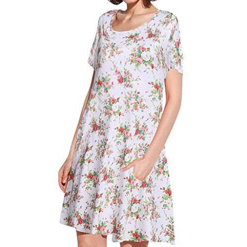 AZZRA Damentaschen Lässige Blumenmuster Kurze Ärmel Swing Loose T-Shirt Kleid Prinzessin tüll v-Ausschnitt Braut Applique Abendkleid rückenfrei kurz Bustier Kleider mit blüte