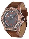 s.Oliver Herren-Armbanduhr Analog Quarz Leder SO-15155-LQR