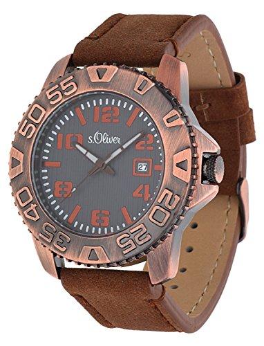 s. Oliver Hombre Reloj de pulsera analógico cuarzo piel So de 15155de LQR
