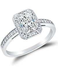 Sólido 14 K oro blanco alta calidad CZ cúbico zirconia Halo anillo de compromiso – Emerald