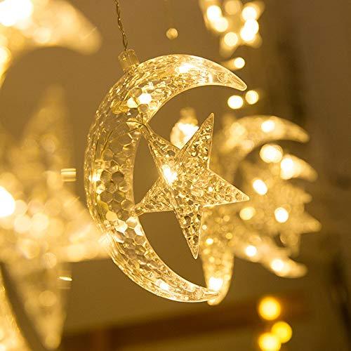 Igemy LED-Sterne Vorhang Lichter Fenster Vorhang String Light Mond Sterne String Licht (Gelb)