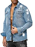 Red Bridge Herren Jeanshemd Oversized Freizeit- Hemd Denim Destroyed Blau XXL