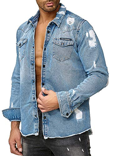 Red bridge uomo manica lunga camicie retro di jeans distrutti oversized denim moda camicia
