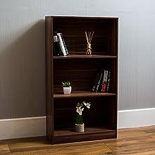 Vida Designs Cambridge 3 Tier Medium Bookcase, Walnut Wooden Shelving Display Storage Unit Office Living Room Furniture