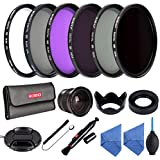 Beschoi - Packs de Filtro Fotográfico 52mm UV+CPL+FLD, ND2+ND4+ND8 Filtro Kit de Lente Accesorios para Nikon D5300 D5200 D5100 D3300 D3200 D3100 DSLR Cámaras Digitales,Kit incluye 52mm (UV CPL FLD,ND2 ND4 ND8) + 0.35X Ojo de Pez + Parasol de Objetivo Plegable + Centro Pinch Tapa del Objetivo + 2 Paño de Limpieza de Microfibra + Pluma de Limpieza + Soplador de Aire + Tapa Keeper Correa + Estuche Filtro con 6 Bolsillos